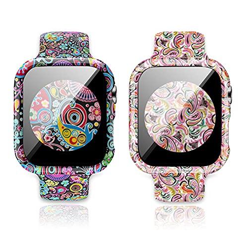 Pack de 2 pulseras deportivas compatibles con Apple Watch, 40 mm y 44 mm, silicona suave, con funda protectora y protector de pantalla para iWatch Series 6/5/4 SE, para hombre y mujer, 44MM,