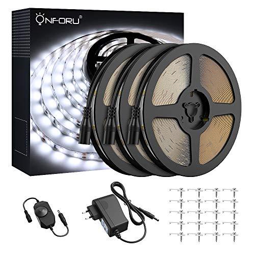 Onforu 15M Tira LED Regulable, Blanco Frío 5000K Tiras de Luces, 12V Franja LED con Regulador de Intensidad, Decoración Interior de LED 2835 con Fuente de Alimentación para Habitación Cocina Salón