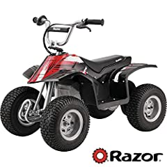 New and improved Razor Dirt Quad with fresh black styling and design Miniature electric off-road dirt quad with authentic quad geometry.Average battery life: 250 charge/discharge cycles.To ensure long battery life, do not store the battery in tempera...