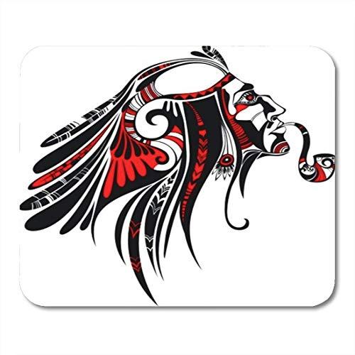 Mau Mat,Red Tatoo Indian American Native Apache Krieger Stammes-Kopfschmuck Lustiger Druck Rutschfester Mauspad,18x22cm