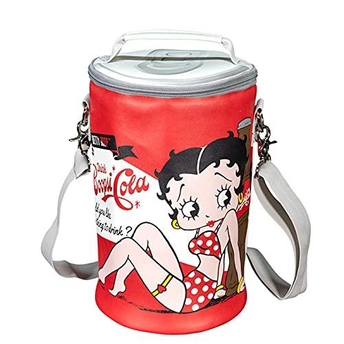 クーラーバッグ (ベティちゃん コーラ) 保冷 ショルダーバッグ ワインボトル 冷やす ジュース アウトドア キャンプ ストラップ付 おしゃれ ファスナー 西海岸風 インテリア アメリカン雑貨