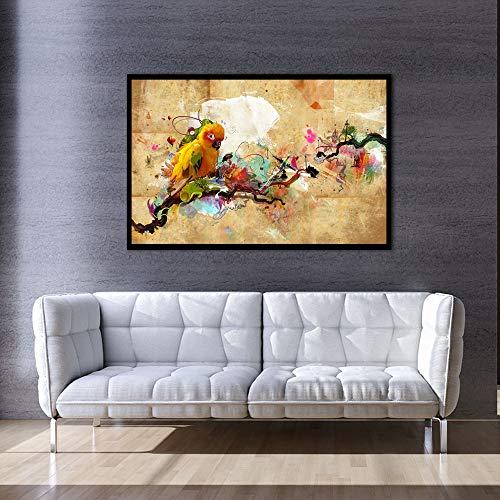 Abstrakte Kunst Malerei Papagei Vogel Ölgemälde Poster auf Leinwand und Wohnzimmer rahmenlose dekorative Malerei Druck modernes Wandbild A132 60x80cm