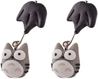 New Animal Handmade Polymer Clay 3D My Neighbor Totoro Earrings for Women Cute Cartoon Stud Earring Vintage Jewelry Brincos