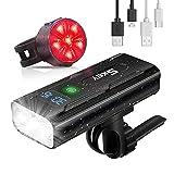 SKEY Luces para Bicicletas, Luz Bici LED Recargable USB, Baterías de 5200mAh 1500 Lúmenes, IPX5 Impermeable Seguridad Luces Bicicleta Delantera y Trasera para Bicicleta de Montaña o de Carretera