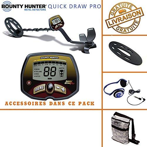 Bounty Hunter–Detector de Metales Quick Draw Pro con Protector de Disco, bolsa de Camuflaje Garret y auriculares