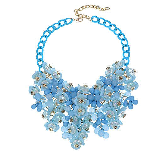 DELEY Donne di Colore di Candy Cluster di Cristallo Floreali in Rilievo Choker Bavaglino Deco Collare Collana Blu