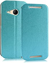 Heartly Luxury Premium PU Leather Flip Stand Back Case Cover for HTC One M8 Mini & HTC One Mini 2 - Blue