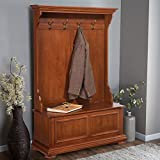 Home Styles Homestead Distressed Warm Oak Hall Tree and Storage Bench with Poplar Hardwood Solids, Multi-step Distressed Oak Finish, Sitting Bench with Storage, and Antique Brass Hooks