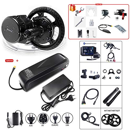Kit de conversión de bicicleta eléctrica de motor BBS01B 36V250W libre de impuestos, sistema de transmisión con batería y cargador,750C Display(version with bluetooth function)-52T Without battery