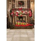 YongFoto 1,5x2,2m Navidad Fondo Anillo de Navidad Calcetines Flor Decorado Chimenea Retro Obelisco Juguete Fondo Nochebuena Retrato Producto Póster Fotografía Foto