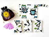 Luna Cup Period Starter Kit Set- 1 Small 1 Large Menstrual Cup 1 Small Pouch 3 Cloth Pads for Women 1 Wet Bag (7 pcs Set)