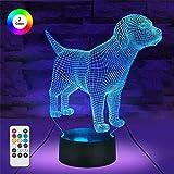 Luz de noche para perro 3D, 16 colores cambiantes y regulables, función y envoltura de regalo, regalos de cumpleaños de Navidad para niño