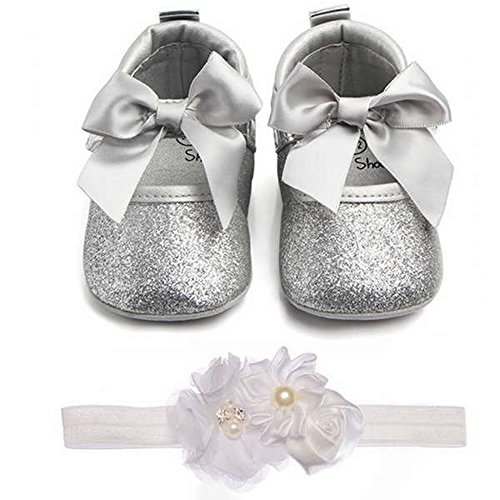 Baby Girls Mary Jane Flats with Bowknot Soft Sole Non-Slip Toddler Infant First Walker Princess Dress Shoes (0-6 Months Infant, A-Silver)