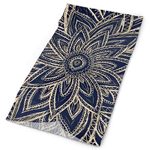 Nonebrand Moderno dorado marino azul abstracto floral ilustración multifuncional sombrero elástico exterior cuello transpirable protección UV máscara facial calentador de la cara pulsera para todo el año