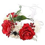SJDWDX Diadema de corona de rosas artificiales, color negro y rojo, con cinta para decoración de bodas