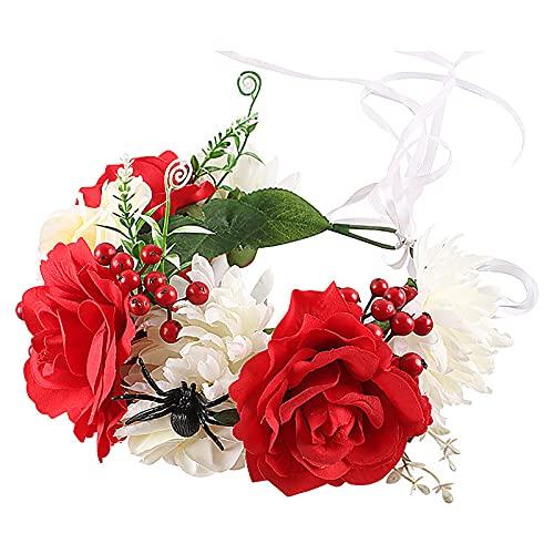 HJHIWE - Fascia per capelli con motivo a rose, motivo floreale, per Halloween, per feste, cosplay, festival, accessori per capelli fatti a mano