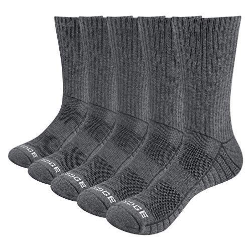 YUEDGE Mens  Cotton Rich Cushion Breathable Outdoor Hiking Walking Socks Solid Sports Athletic Crew Socks 5 Pairs Pack for Men 9-11