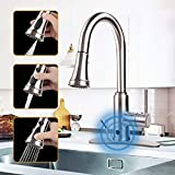 Touchless Kitchen Faucet, Kitchen Sink Faucet with Pull Down Sprayer, Three Function Pull Out Spray Head, One Hole and 3 Hole Deck Mount, Single Handle for Automatic Motion Sensor, Brushed Nickel…