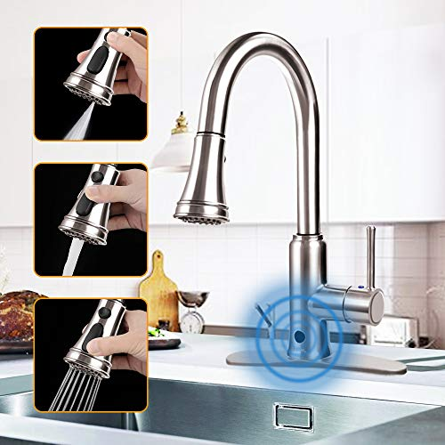Touchless Kitchen Faucet, Kitchen Sink Faucet with Pull Down Sprayer, Three Function Pull Out Spray...