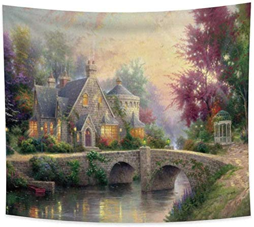 DINGQING Village Tapestry Grassland Wonderland Forest Countryside Bridge River Green Leaves Trees Grass Aesthetic Wall Hangings Bedroom Decoration 150cm x 200 cm