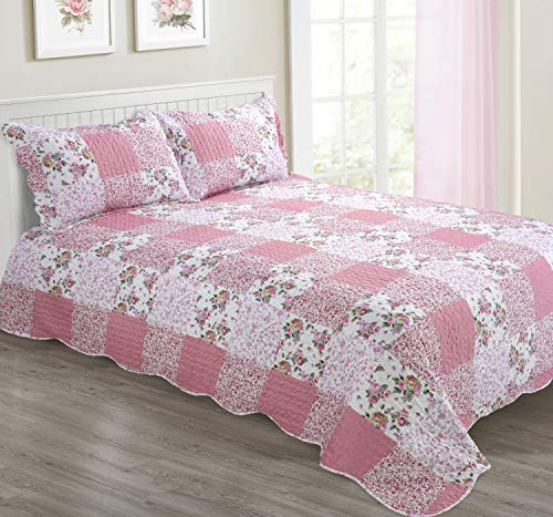 Wisteria Pink Patchwork Bedspread Set Cotton Rich - Single/Double/King Sizes (Double)