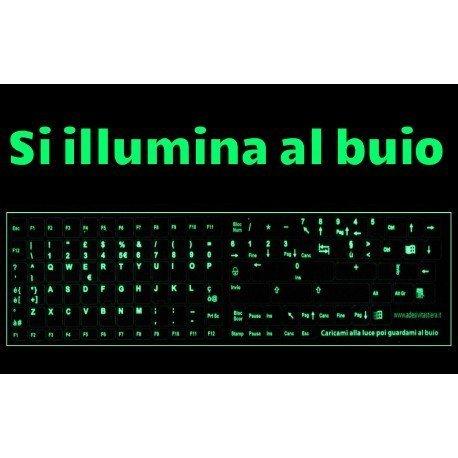 StickersLab - Adesivi Lettere Tastiera Italiano fosforescenti Si Illuminano al Buio Tasti Piccoli
