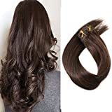 18' Dark Brown Clip in Human Hair Extensions 70grams 7pcs Silky Straight Remy Clip in Extensions, 2