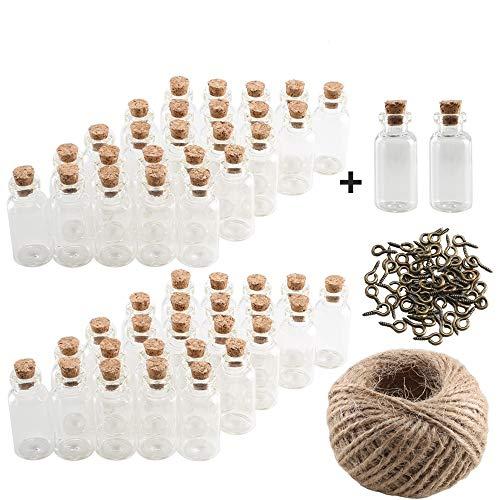 Pulluo 52 pcs Botellas de Cristal Pequeñas Botellas de Vidrio con Tapón de Corcho 5 ml Botella de Mensaje con 30 m Cuerda Tornillos de Ojo para Manualidad Decoración Bodas Bautizos Comuniones