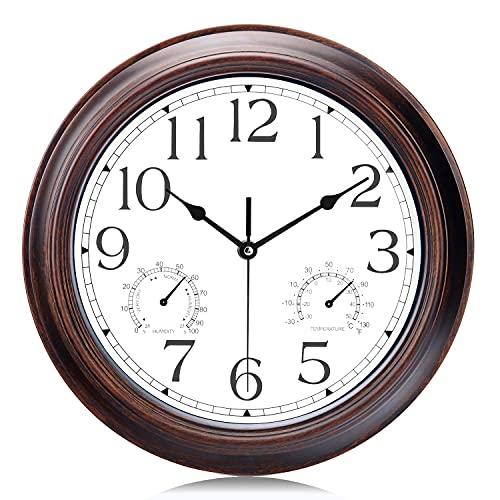 QTQZ Reloj de Pared de Color Caoba de 12'con termómetro y Humedad Relojes de Cuarzo silenciosos Vintage Garaje para Cocina Sala de Estar