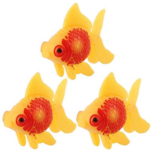 sourcing map Aquarium Dekoration Fish Tank Kunststoff Schwimmen Goldfisch gelb Rot 3 Stück