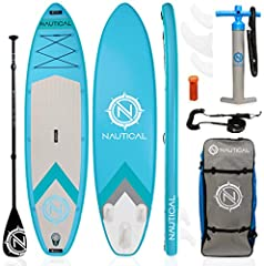 """EXTREMELY STABLE, RIGID Nautical by iROCKER INFLATABLE PADDLE BOARD: 10'6"""" or 11'6"""" Long x 32"""" Wide x 6"""" Thick Board Weight 20 lbs. Weight Limit of up to 240 lbs. The 32"""" width makes for extra stability while the sporty shape of the board still allow..."""
