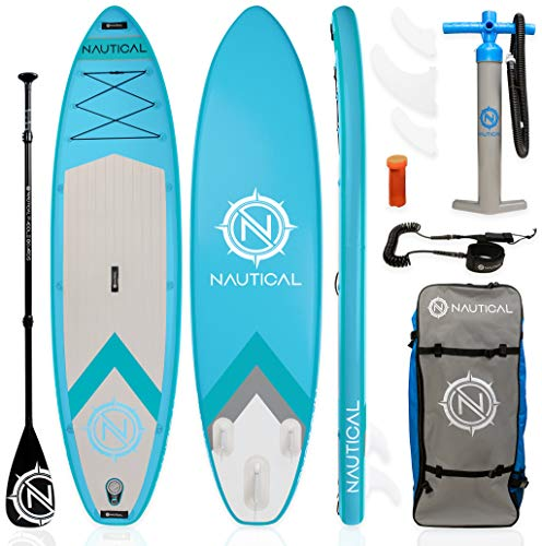 "iROCKER Nautical Inflatable Paddle Board (Aqua, 10'6"")"