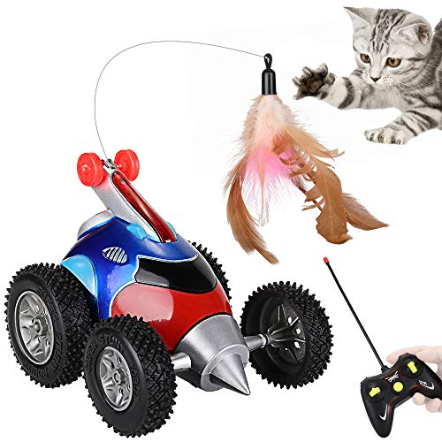 Nasjac Remote Katzenspielzeug, katzenspielzeug Feder, Raketenform Interaktive Bewegen Automatische Robotic Sound Chaser Streich Auto Für Kätzchen (Keine Batterie Enthalten)
