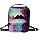Yonger Fashion Galaxy Mustache Pattern Backpack Pu Leather Back Pack