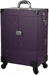 L.TSA Cosmetic Case Professional Makeup Artist Trolley Case Multi-Layer Large-Capacity Multi-Functional Cosmetics Storage Box,Purple
