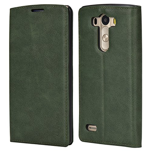 Mulbess Slim LG G3 Case, Flip Leather Phone Cover with Card Holder for LG G3, Green
