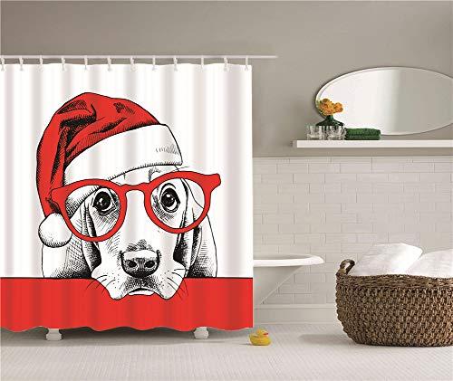 ZZZdz Kerst Decoraties, Huisdier Honden, Katten, Stranden, Slakken.Douche Gordijn. Waterdicht. Mildewproof. Eenvoudig te reinigen. 180 x 180 cm.