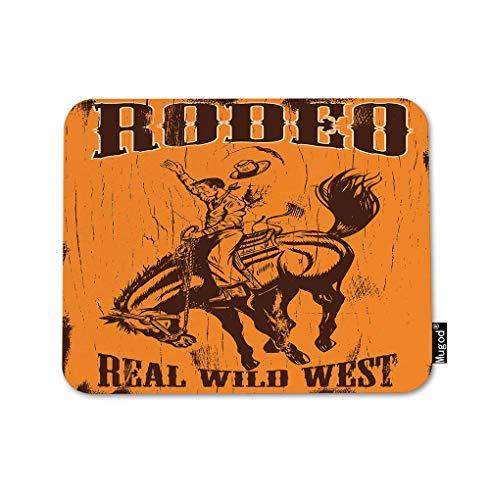 Man rijden Bucking Bronco Mouse Pad Tekst Rodeo Echte Wild West Cowboy Paard Touw Hoed Gaming Muis Mat Anti-lip Rubber Base Mousepad voor Computer Laptop PC Bureau Office&Home Werken