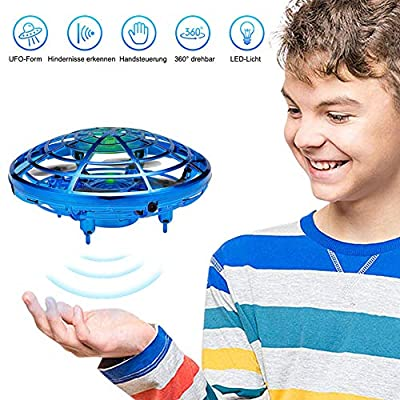 GEYUEYA Home UFO Mini Drones for Kids UFO Flying Ball Toy Interactive Infrared Induction Aircraft Flying Saucer With LED Light Hand Controlled Induction Toys Gift for Boys Girls