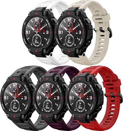 Abasic Correa de Reloj Recambios Correa Relojes Caucho Compatible con Amazfit T-Rex - Silicona Correa Reloj con Hebilla (5PCS C)