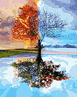 Paint by Numbers for Adults, DIY Oil Painting Kit, Tree Numbers Painting Home Decor, 16x20 inch Drawing Paintwork with Pai...