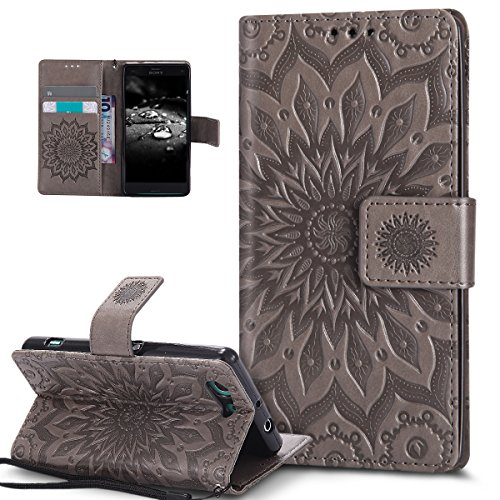 Kompatibel mit Sony Xperia Z3 Compact Hülle,Prägung Mandala Blumen Sonnenblume Muster PU Lederhülle Flip Hülle Cover Schale Ständer Etui Wallet Tasche Hülle Schutzhülle für Sony Xperia Z3 Compact,Grau