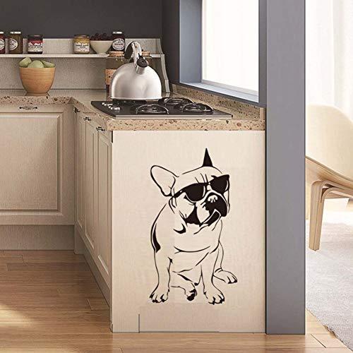 ZJMIQT Etiqueta de la Pared Bulldog Francés Wall Sticker Pegatinas Coche Frances Perro calcomanías de Vinilo Espejo Nevera DIY Cartoon decoración Mural Cocina Impermeable