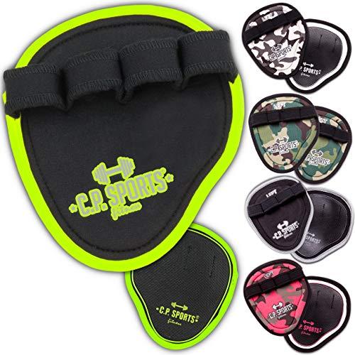 C.P. Sports Power Grips, Grip Pads, Griffpads, Griffpolster Ideal für Bodybuilding, Fitness & Kraftsport Griffpads, Powerpad mit Fingerschlaufen – 2X Paar schwarz