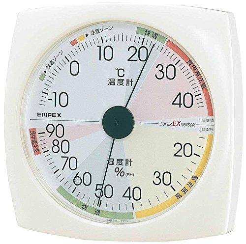 エンペックス気象計 温度湿度計 高精度ユニバーサルデザイン 壁掛け用 マグネット付き 日本製 ホワイト EX-2811