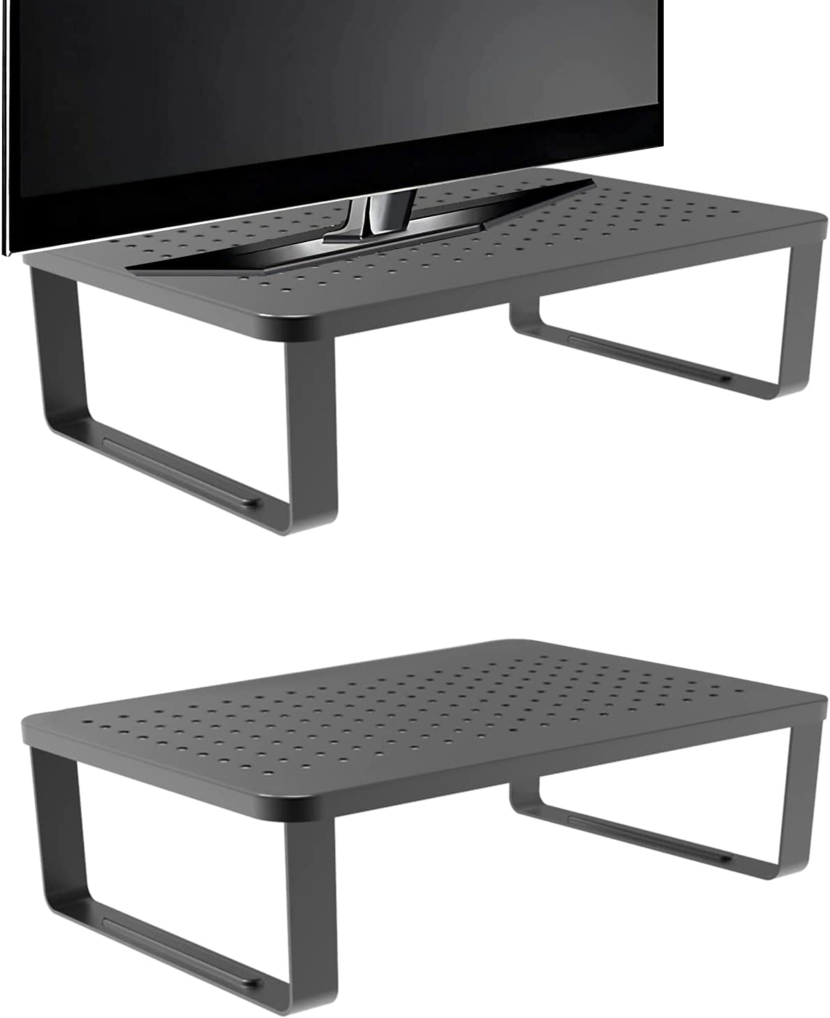 2-Pack Dual Monitor Stand with Ventilated Metal Top & Non-Skid Legs - Ideal for Laptop, Computer, iMac, PC, Printer & Accessories Riser. Sturdy Ergonomic Organizer for Home Office & Business