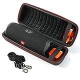Estuche rígido para Altavoz portátil Bluetooth JBL Charge 4, Bolsa de Almacenamiento para Viaje - Negro (Forro Negro)