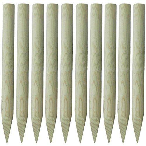 Festnight 10 Stücke Holz Zaunpfahl Zaunpfosten aus Kiefernholz Spitz Holzpfosten Holzzaunpfosten Höhe 100cm für Gartenzaun