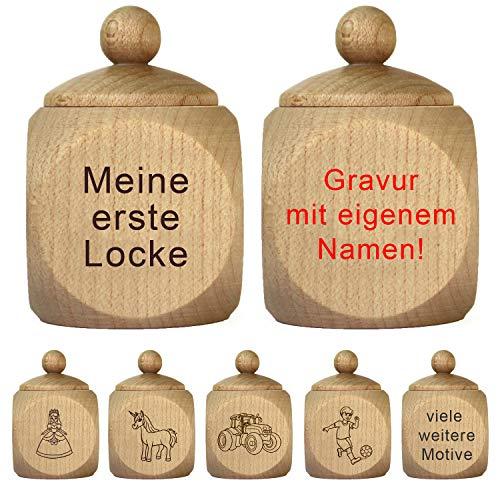 """Lockendose mit Gravur - personalisiert mit Namen - Holzdose """"Meine erste Locke"""" als Geschenk für Mädchen und Jungen"""