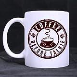 Taza blanca Elegance Tono de café retro 'CAFÉ antes de TALKIE' Taza de café de cerámica blanca Taza de 11 onzas Las mejores necesidades de artículos para el hogar Regalo Home Office Shop Choice